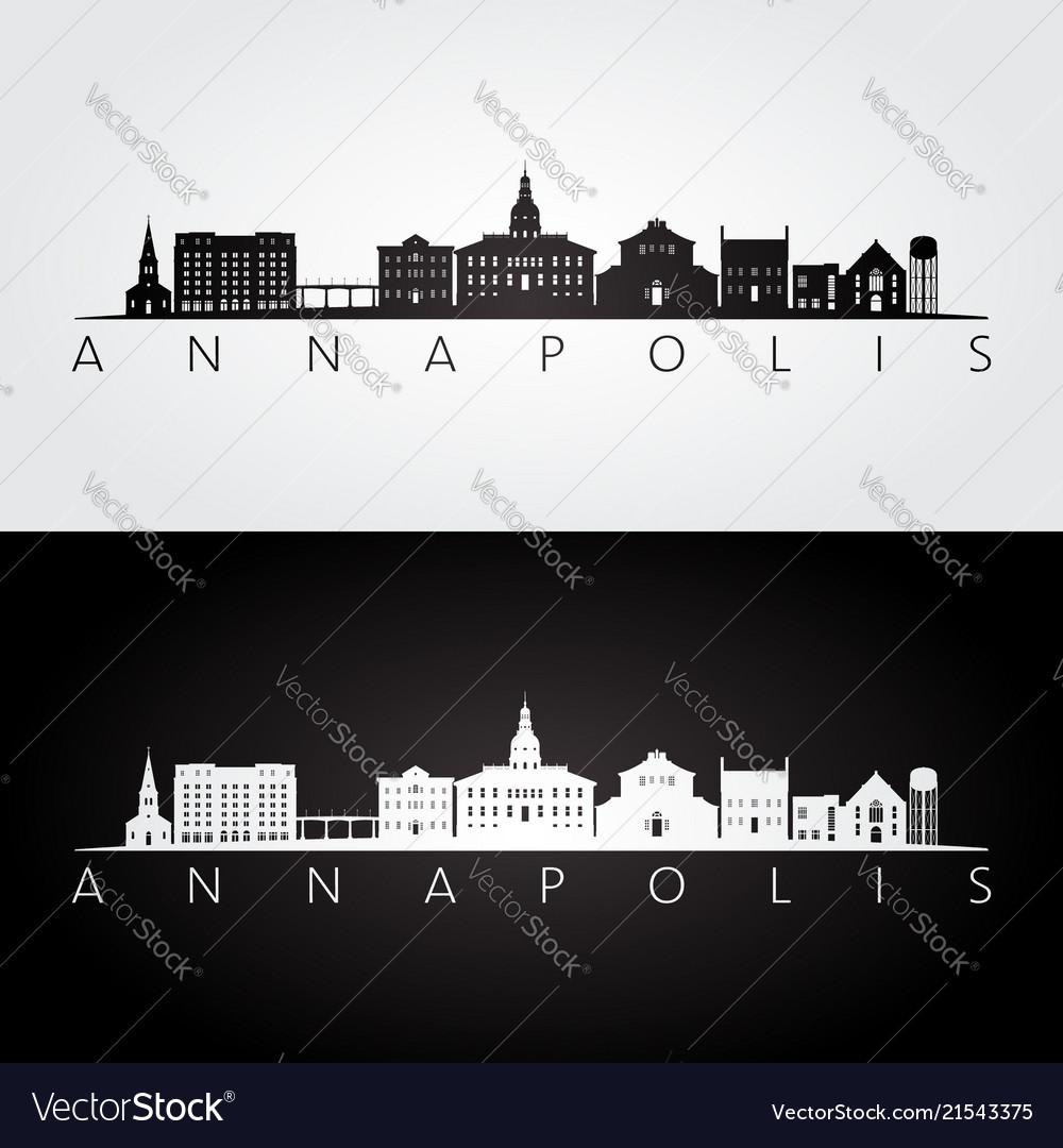Annapolis usa skyline and landmarks silhouette