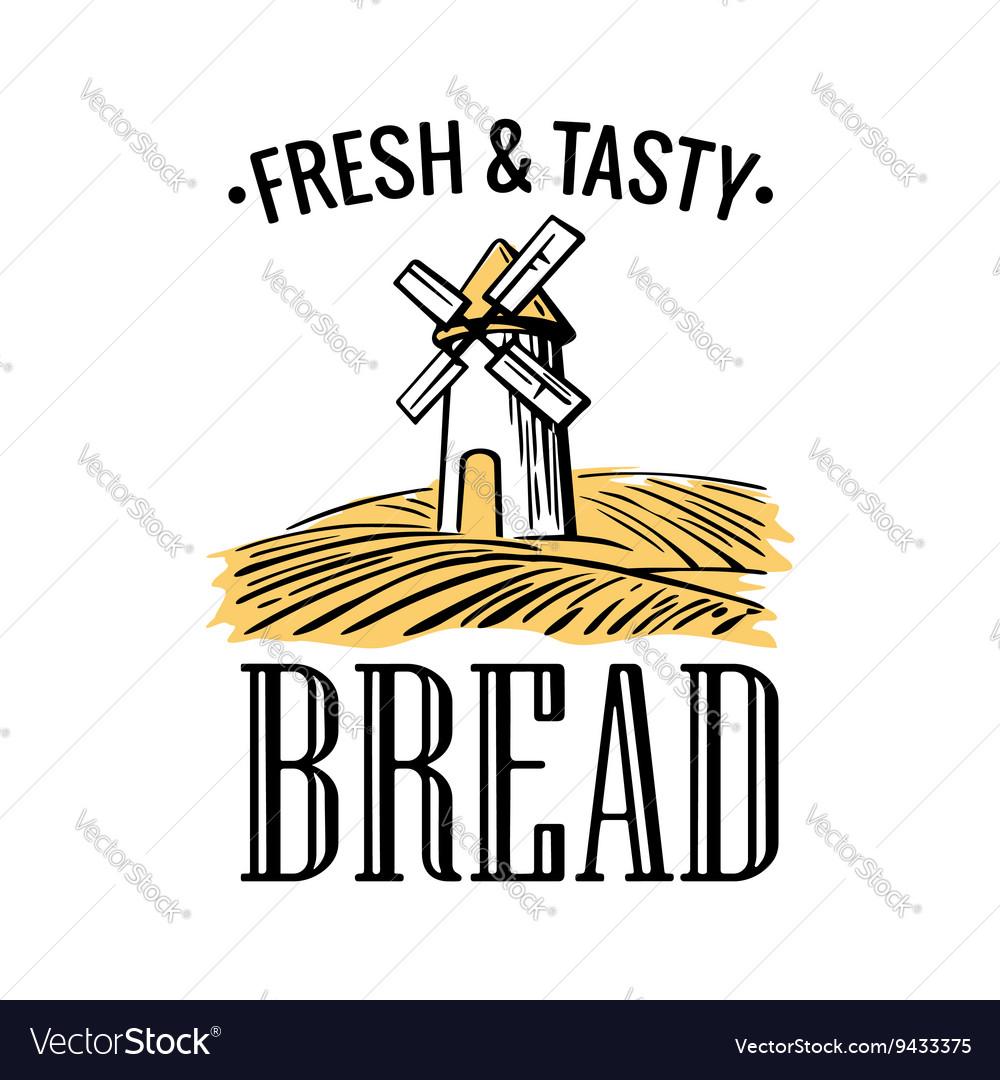 Bakery shop logo Mill on wheat field in black vector image