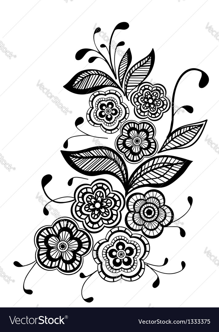 Beautiful Black And White Floral Pattern Design El
