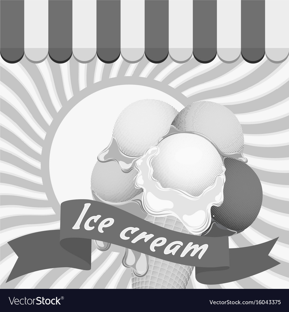 Black and white poster large wafer ice cream vector image