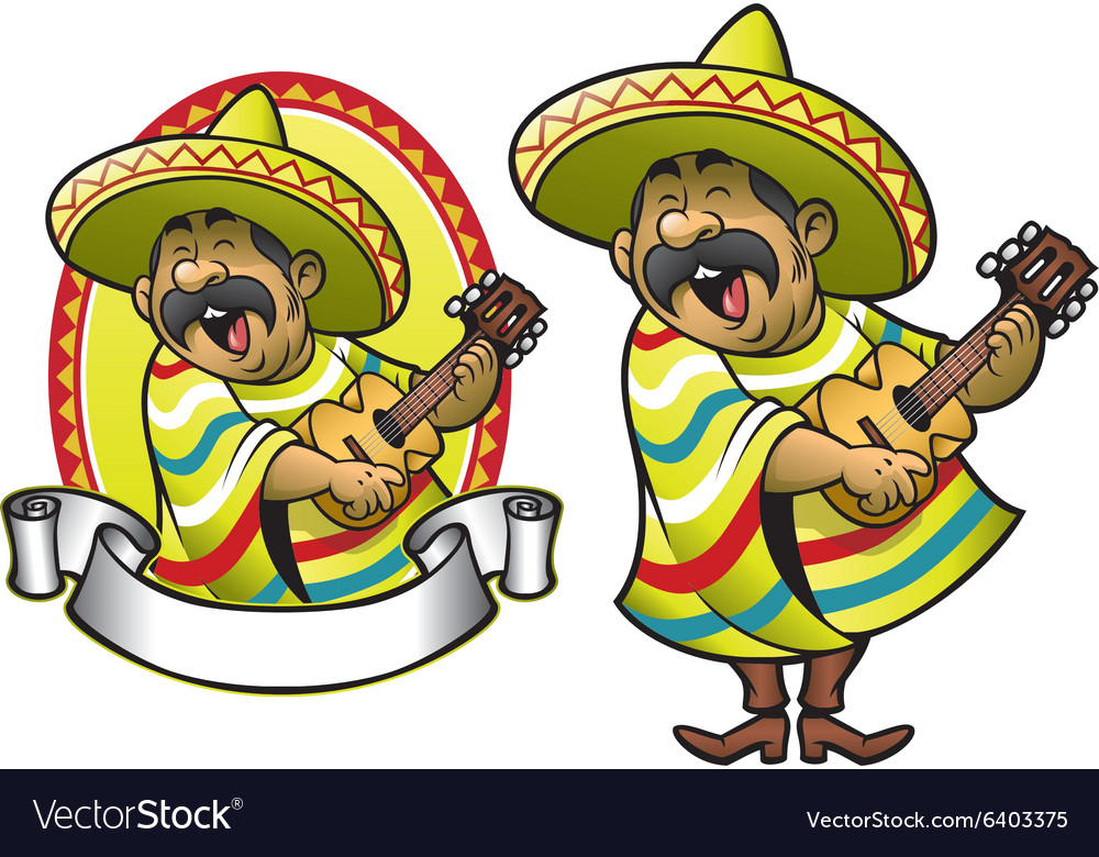 Cartoon of mexican man playing the guitar
