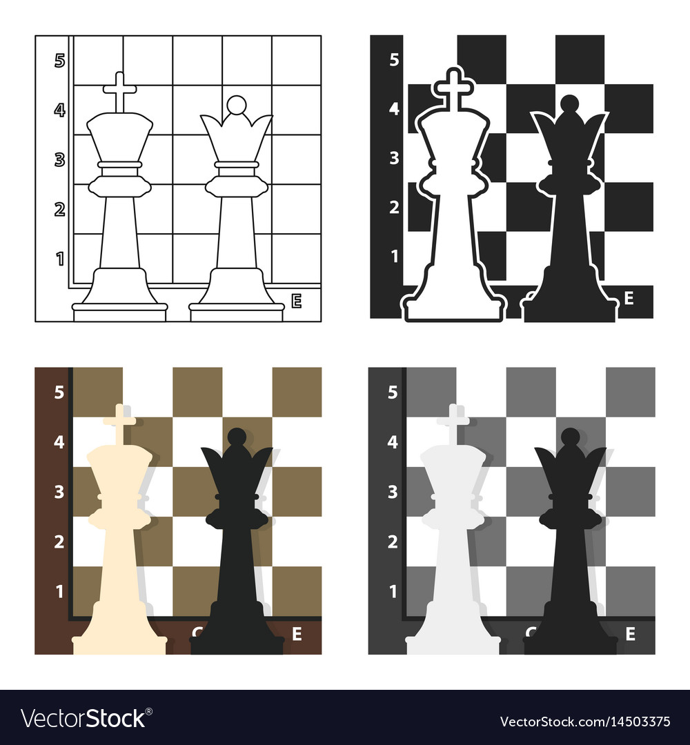 Chess icon in cartoon style isolated on white