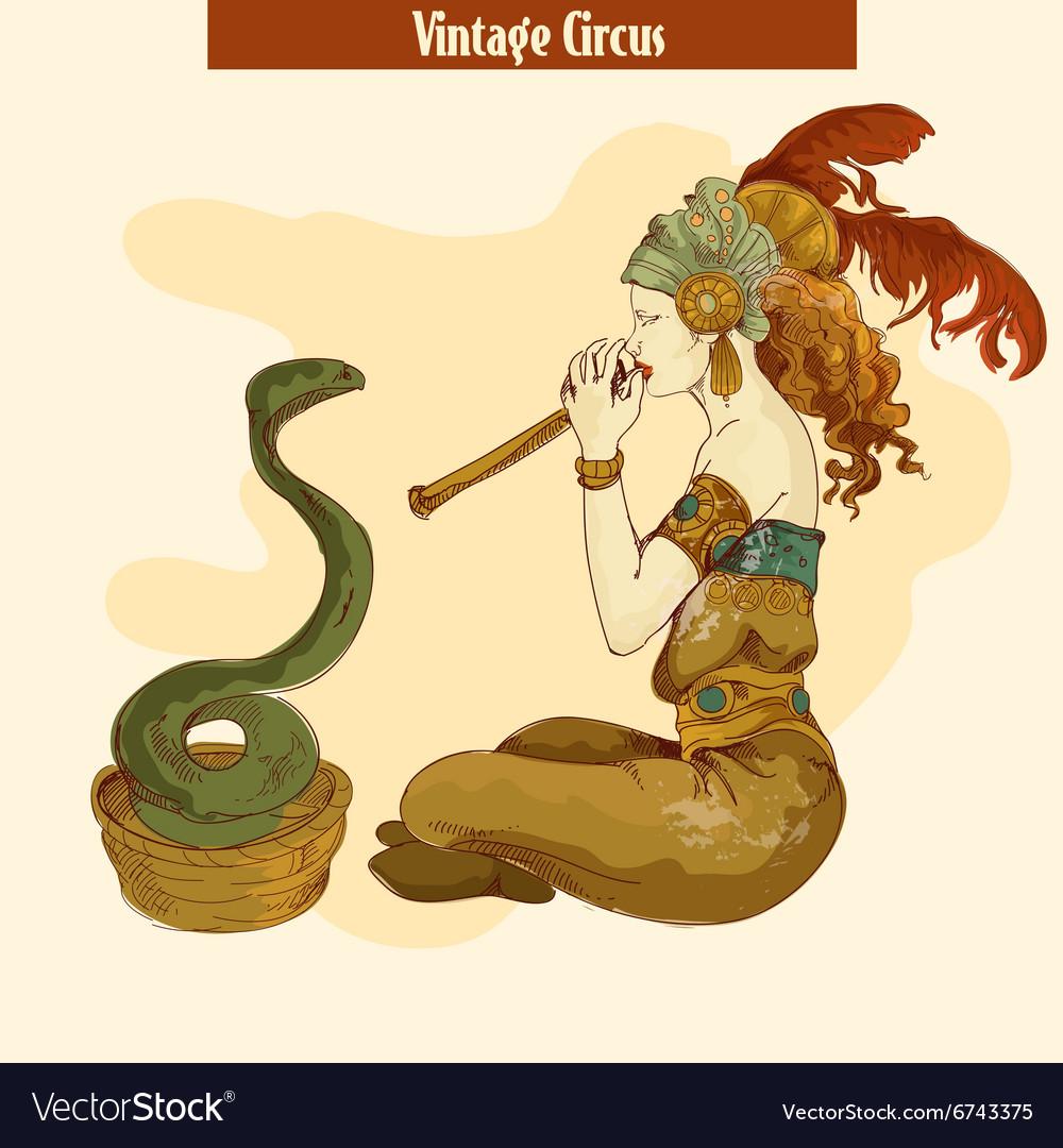 Circus snake summoning girl vector image