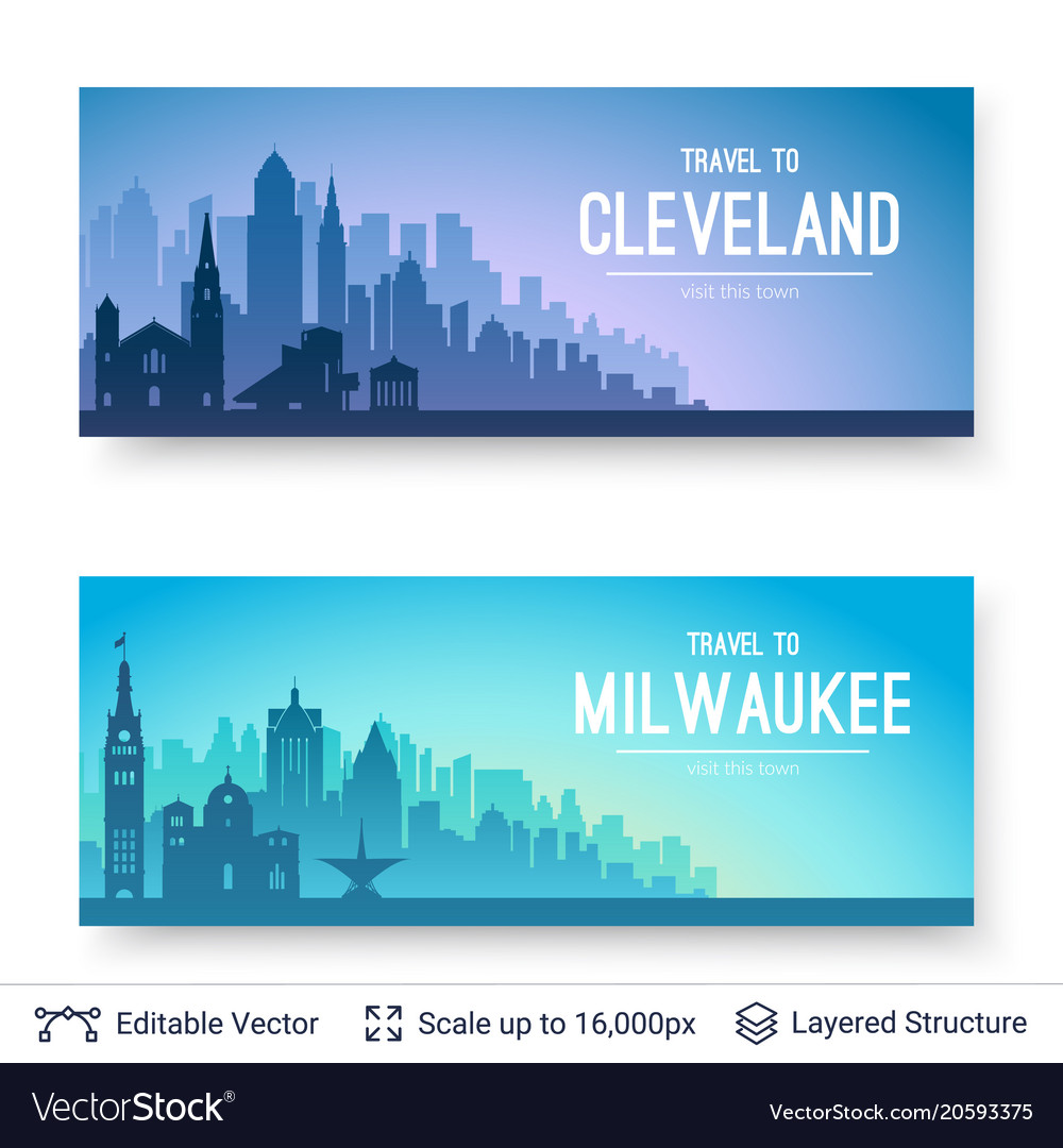 Cleveland and milwaukee famous city scapes
