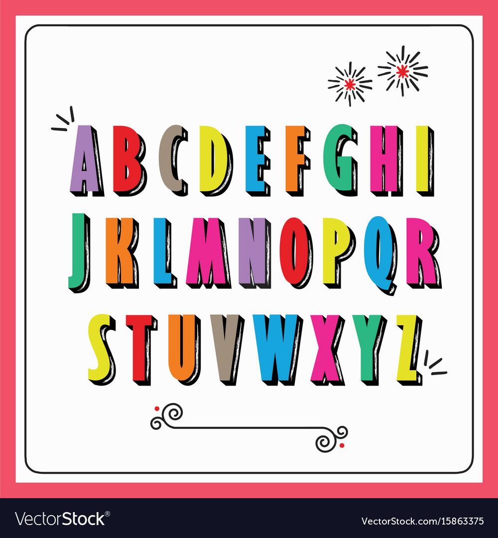 Colorful funky capital letters alphabet set