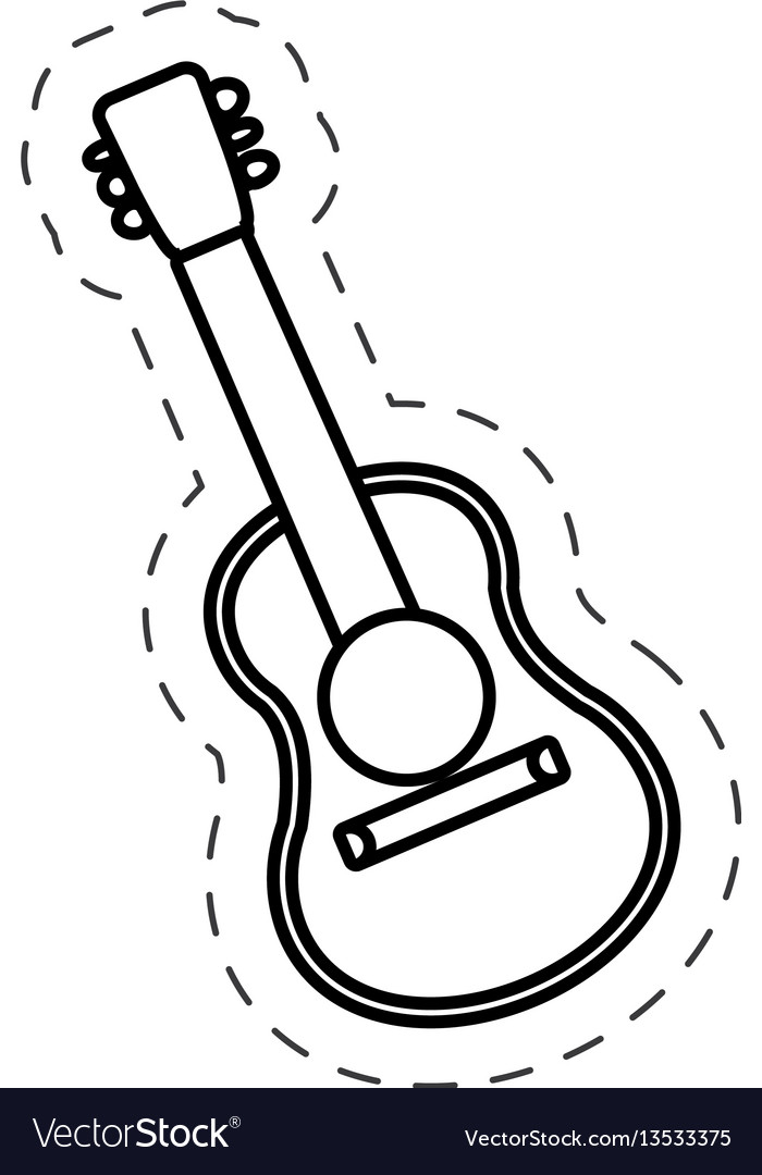 Guitar instrument music cut line vector image