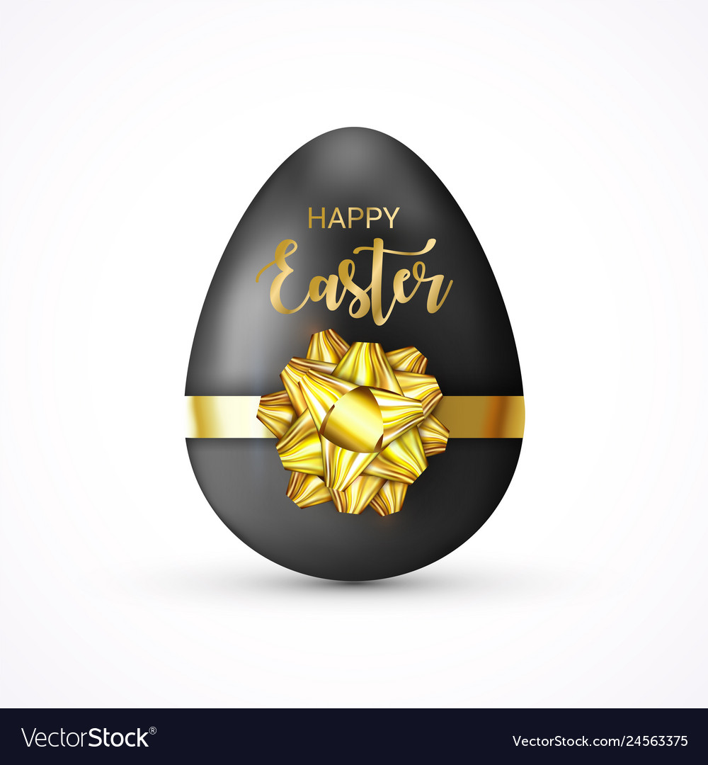 Happy easter lettering tag easter egg tied of