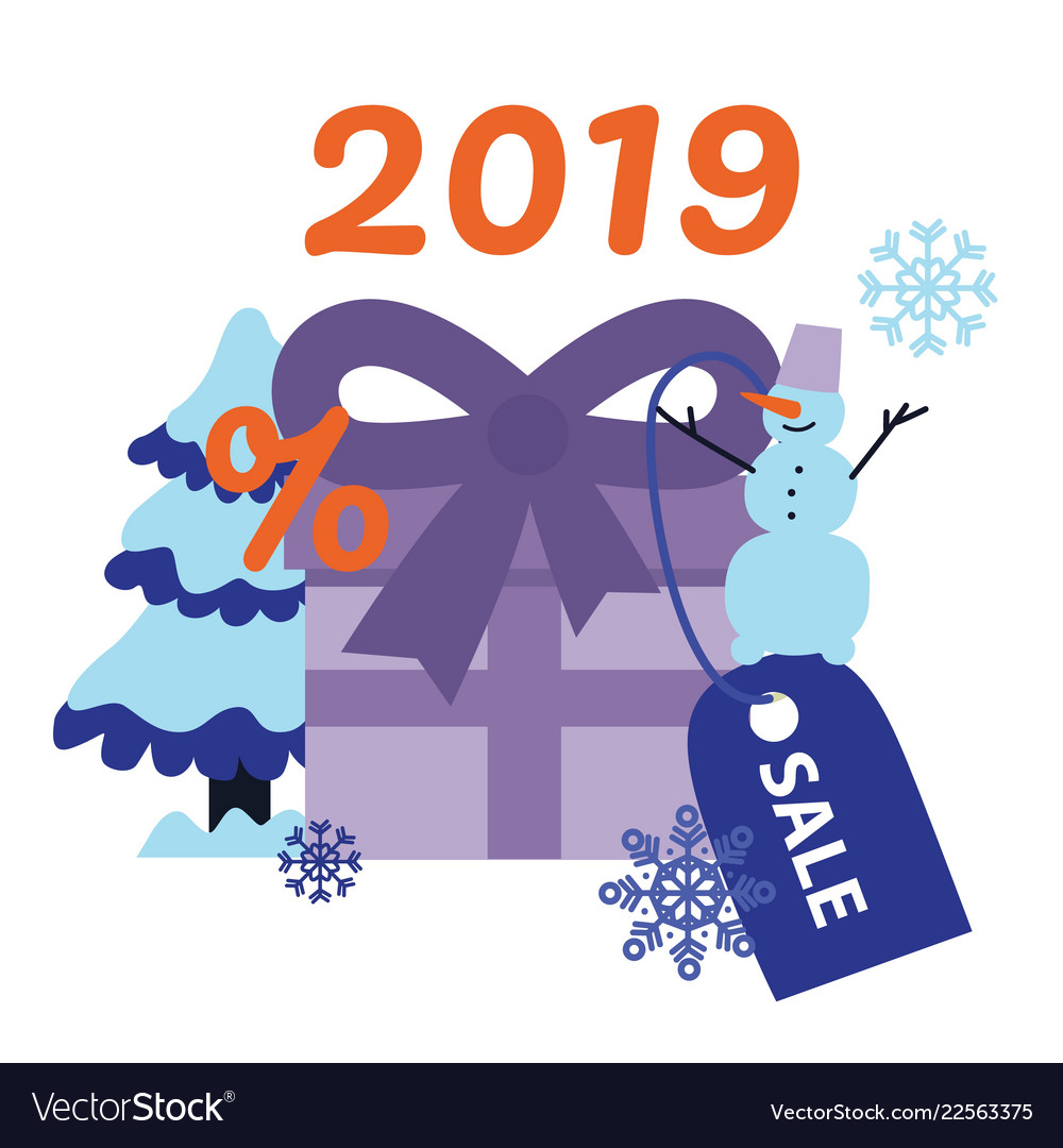 New 2019 year holiday sale banner with big present