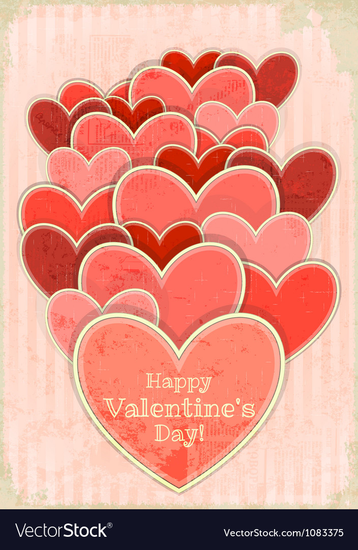Retro Valentines Day Card with Hearts vector image