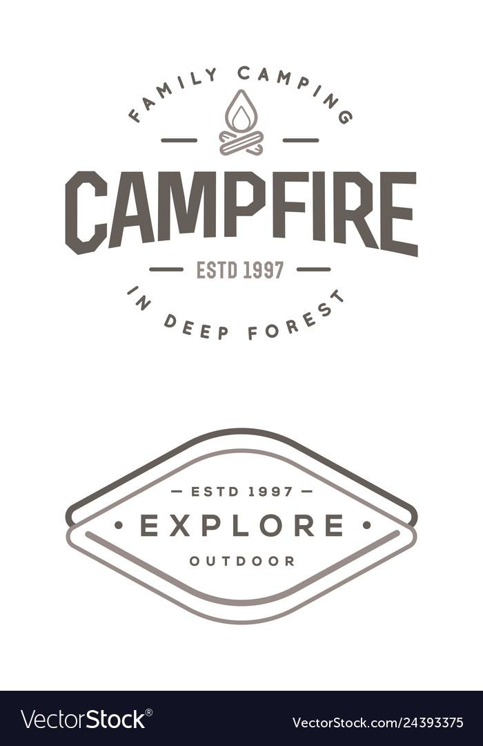 Set camp logo with campfire explore wilderness