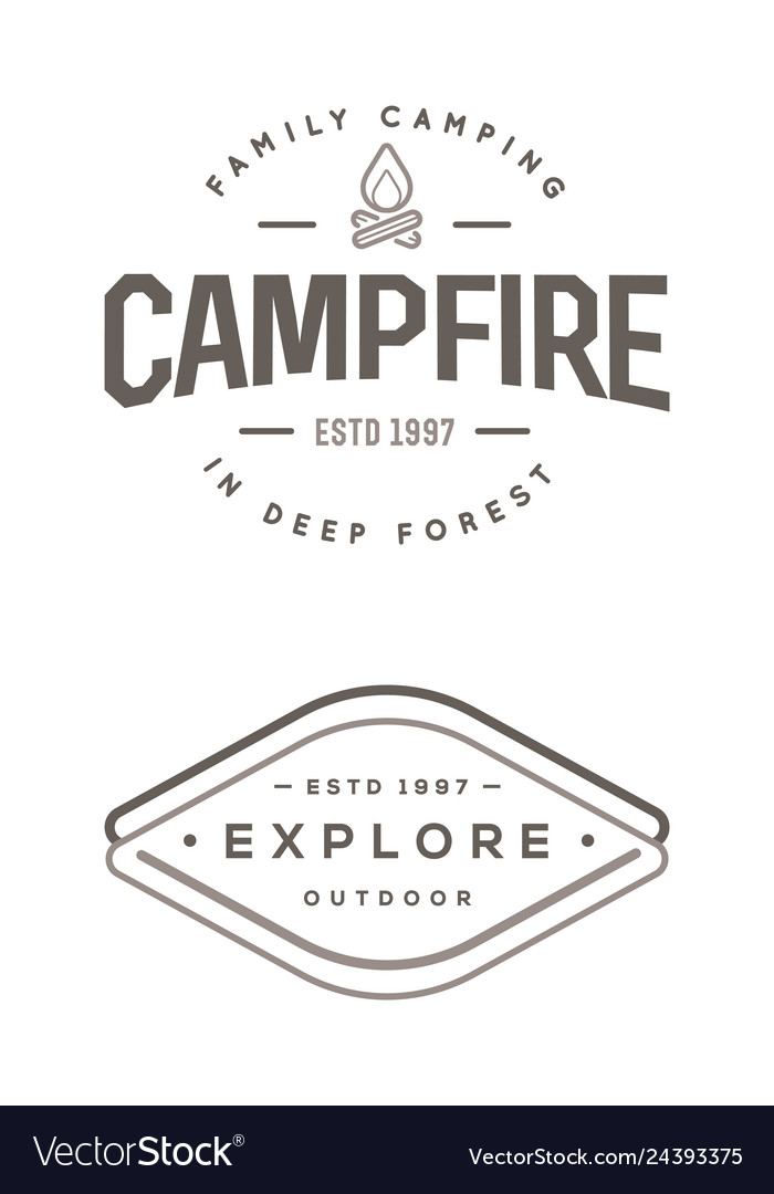 Set of camp logo with campfire explore wilderness