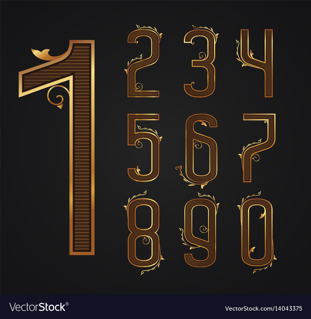 Set of vintage digits from 0 to 9
