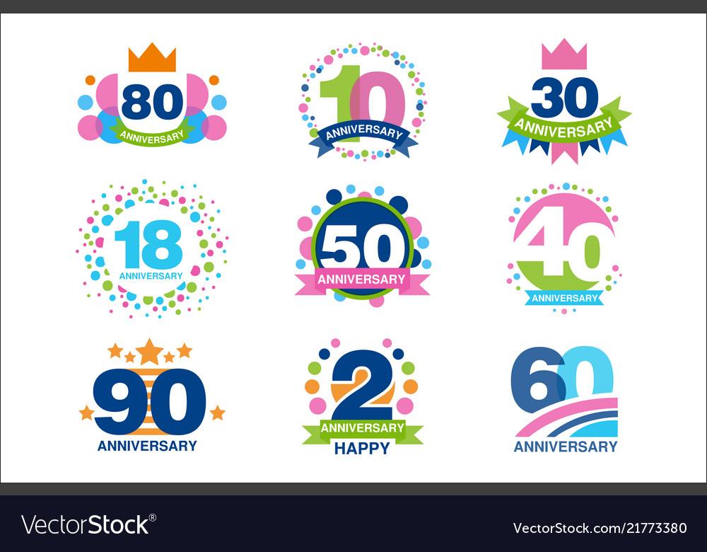 Anniversary birthdays festive signs set ubilee