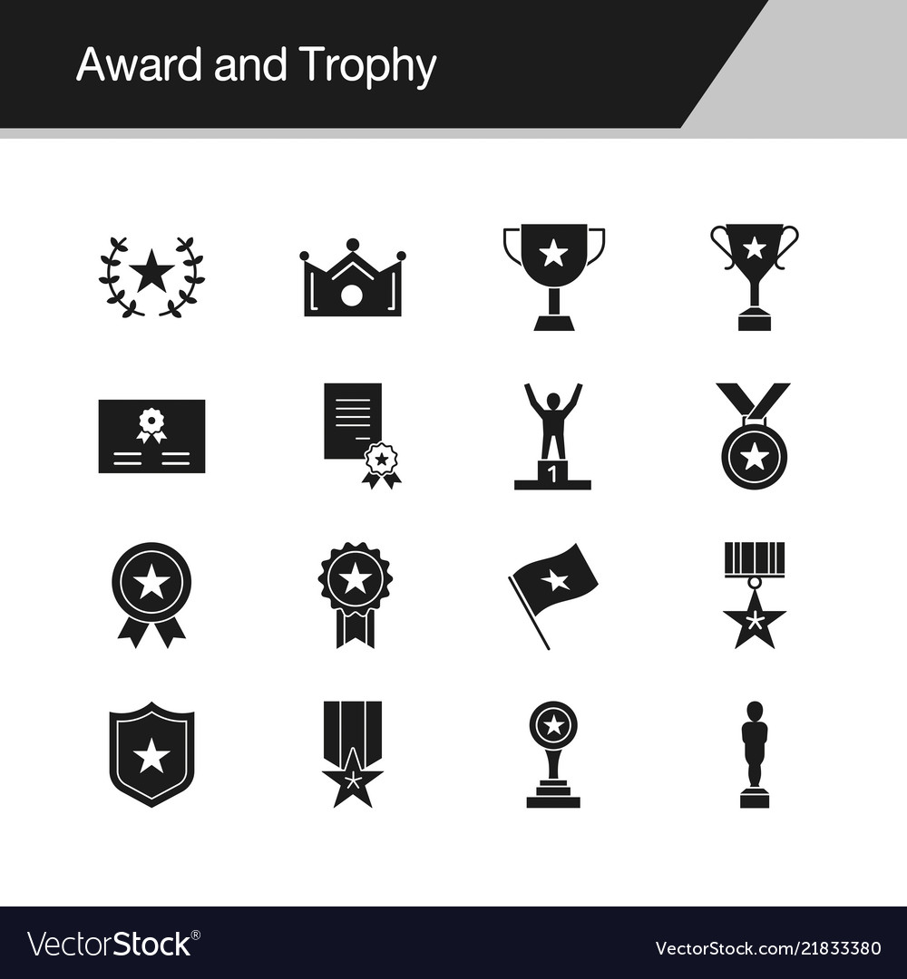 Award and trophy icons design for presentation