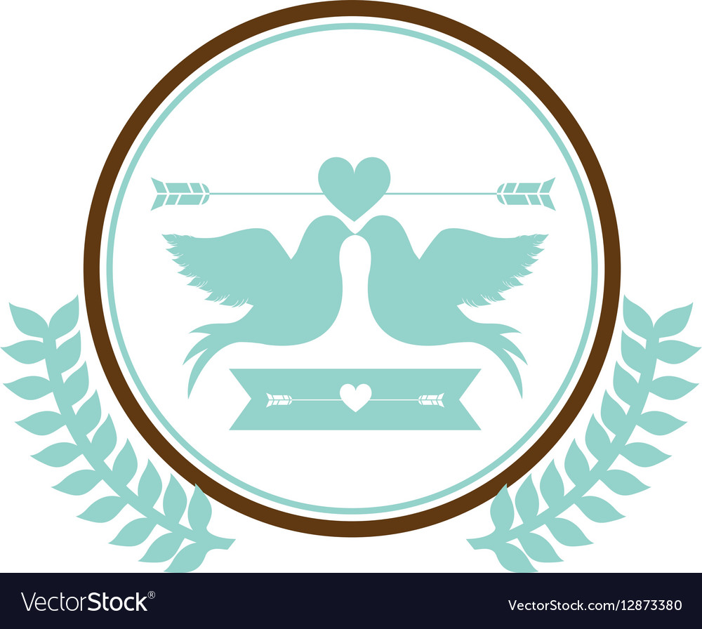 Blue circular border with olive branch and pigeons vector image