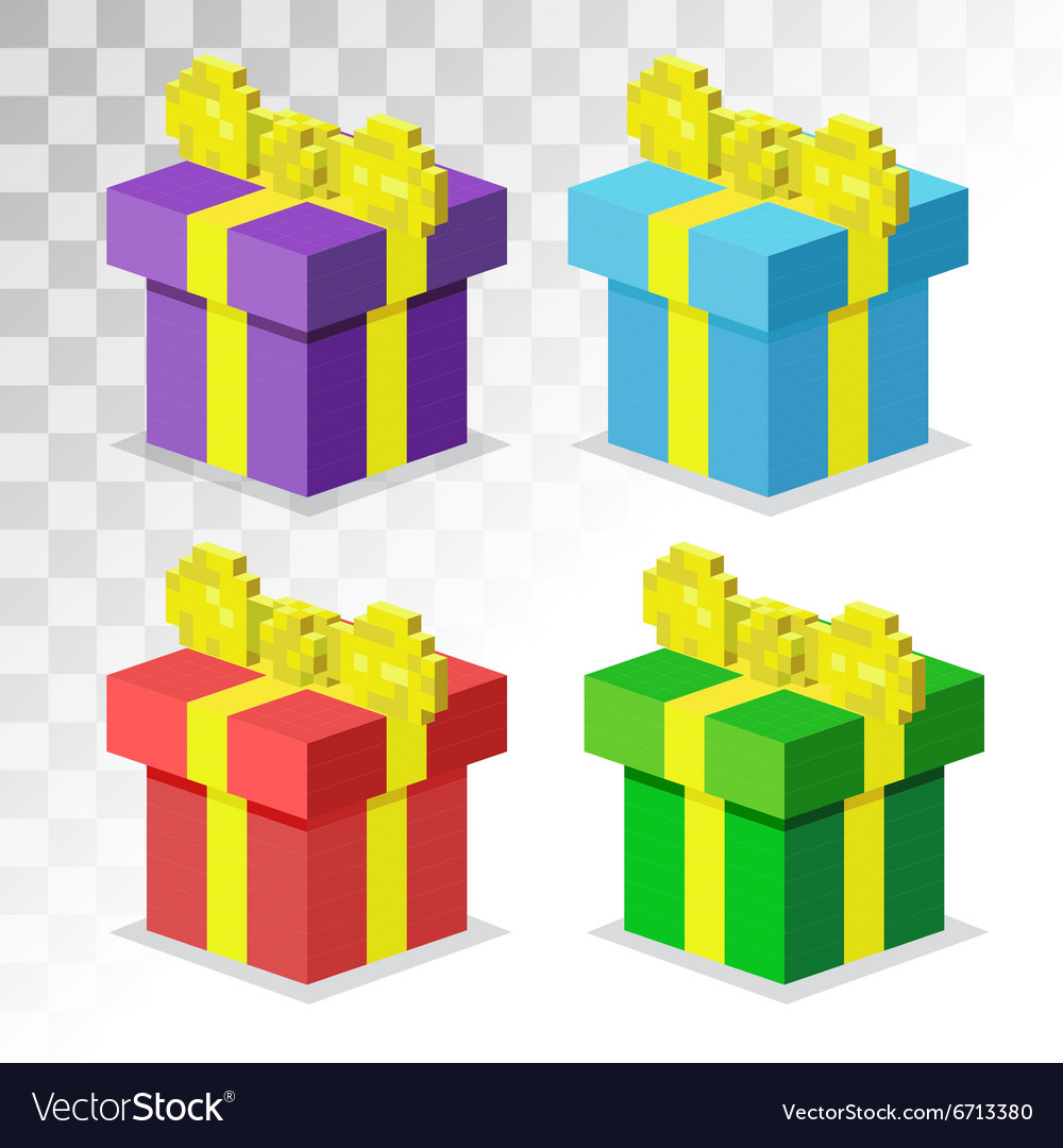 Colorful 3d gift boxes with bows and ribbons