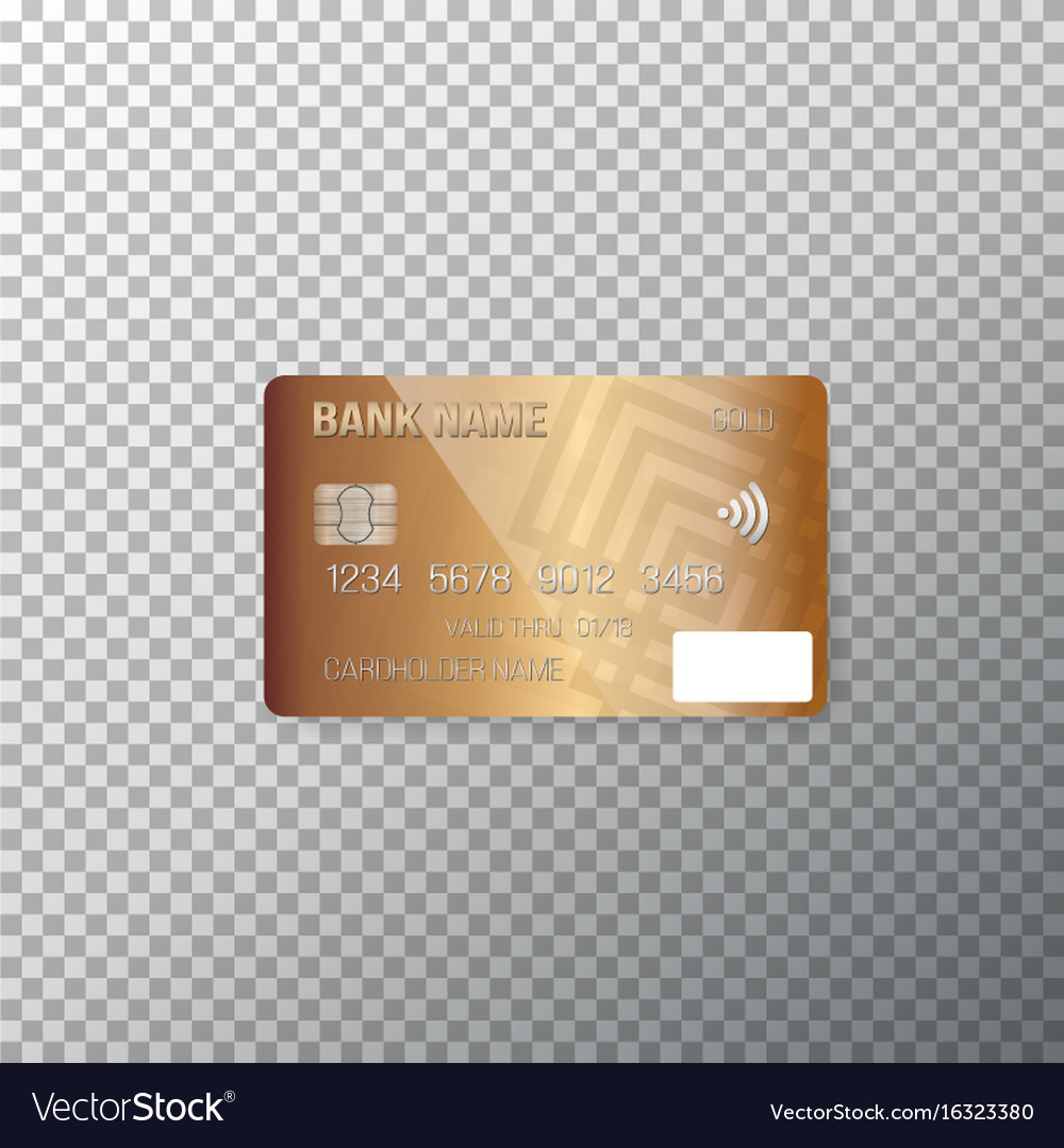 Credit card photorealistic bank card isolated on