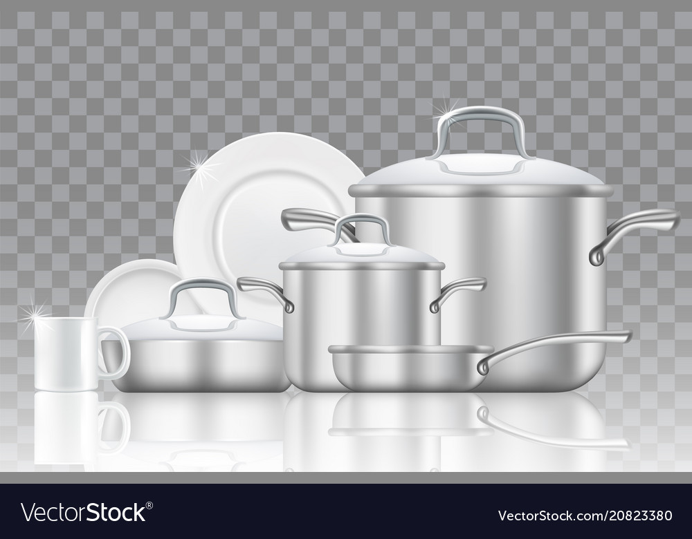 Crockery and cookware realistic icon set
