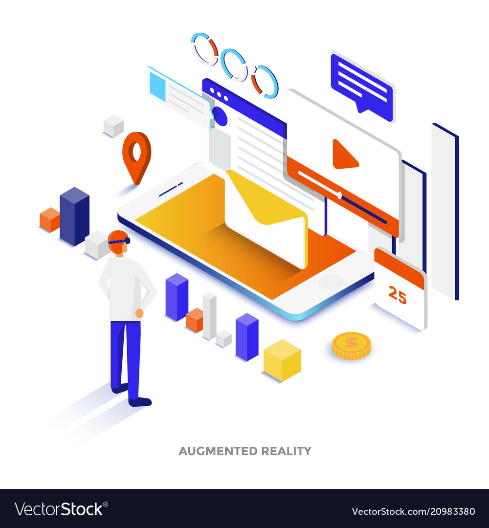 Flat color modern isometric - augmented reality