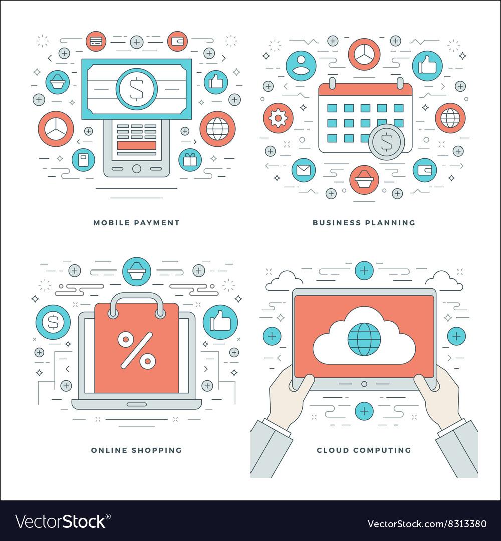 Flat line Cloud Computing Internet Shopping vector image