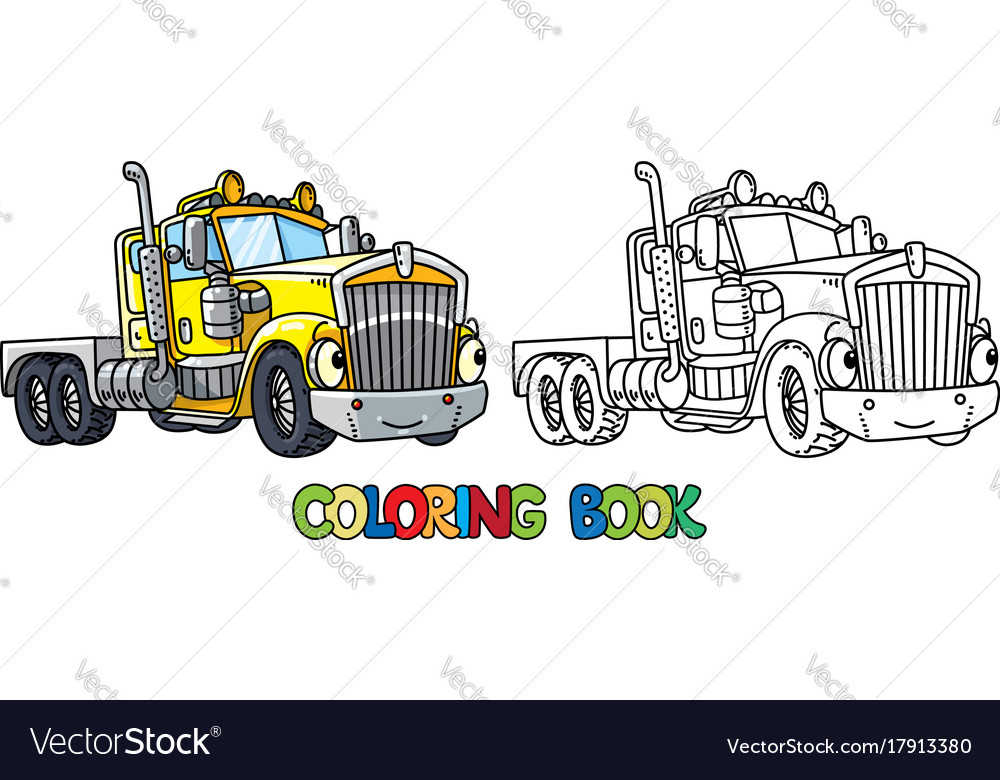 Funny heavy truck with eyes coloring book