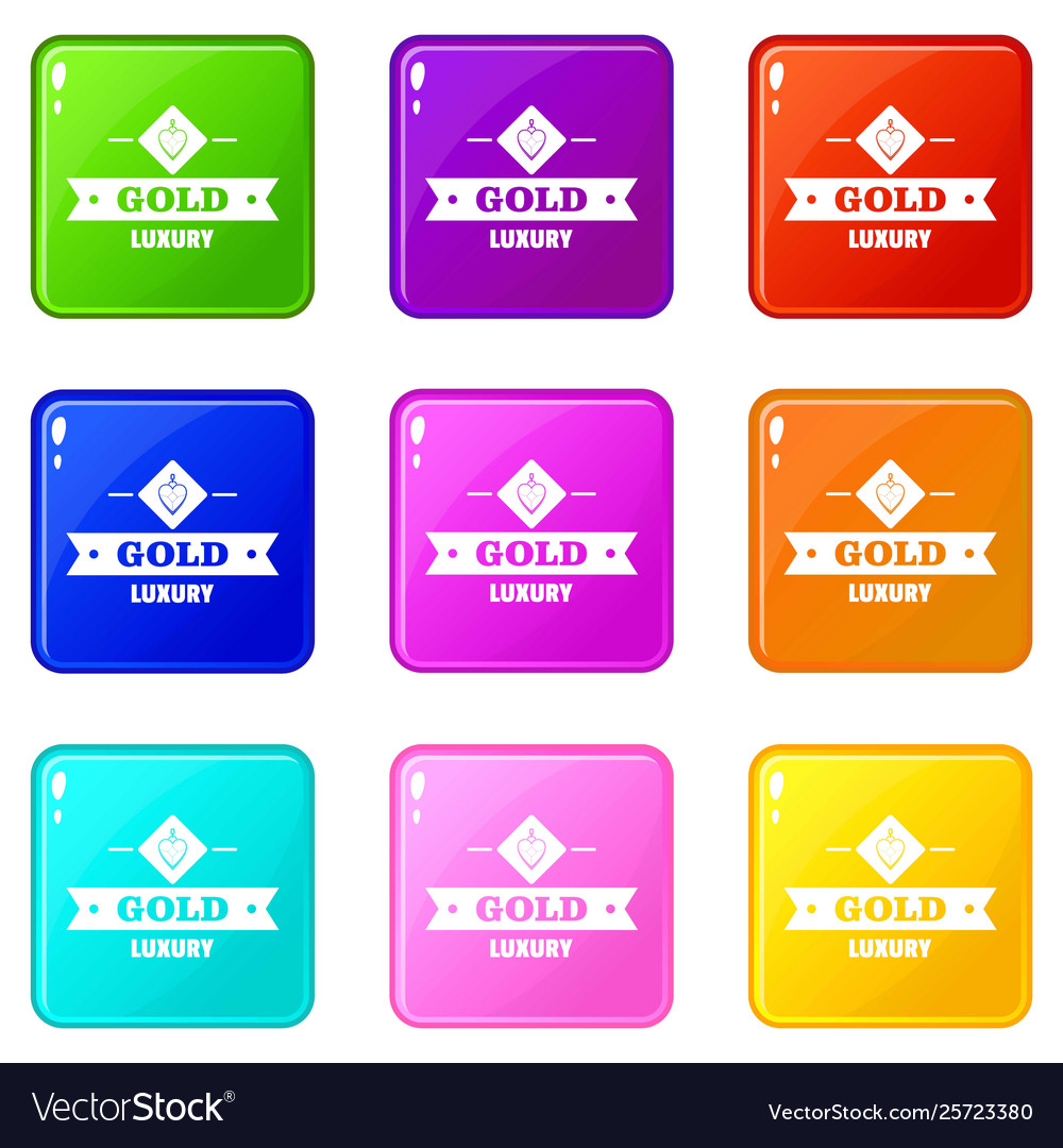 Jewelry gold icons set 9 color collection