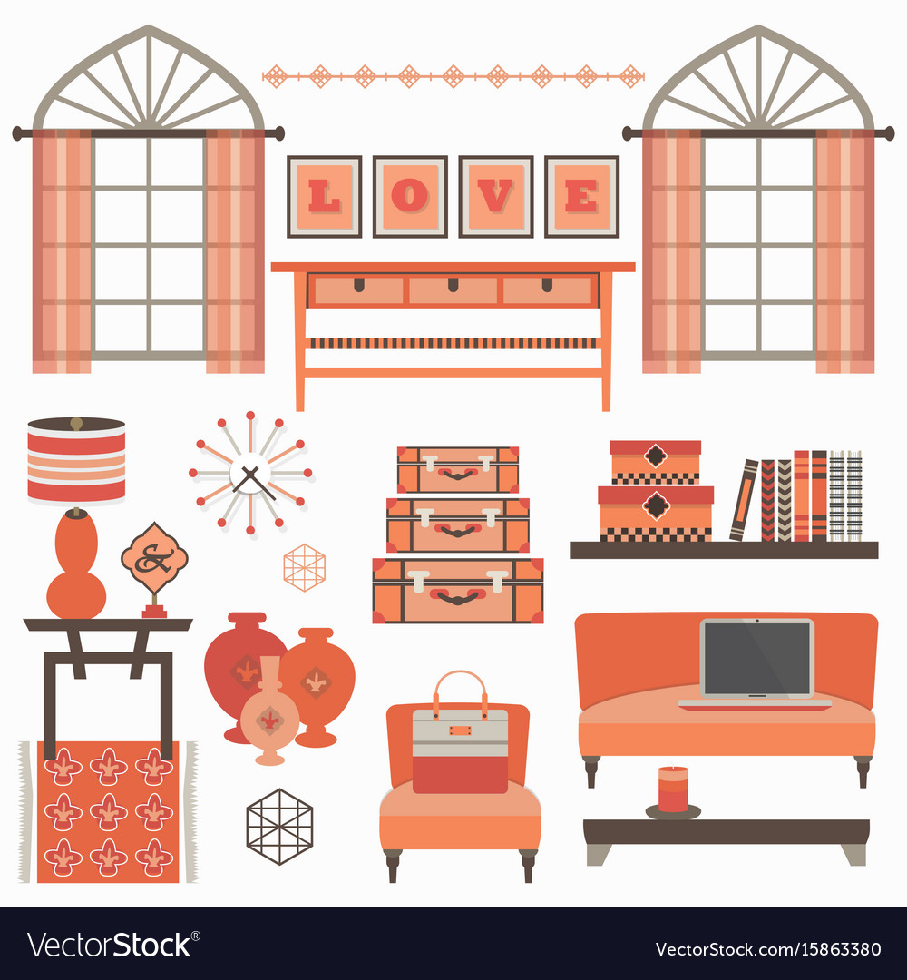 Living room furniture and accessories in coral red