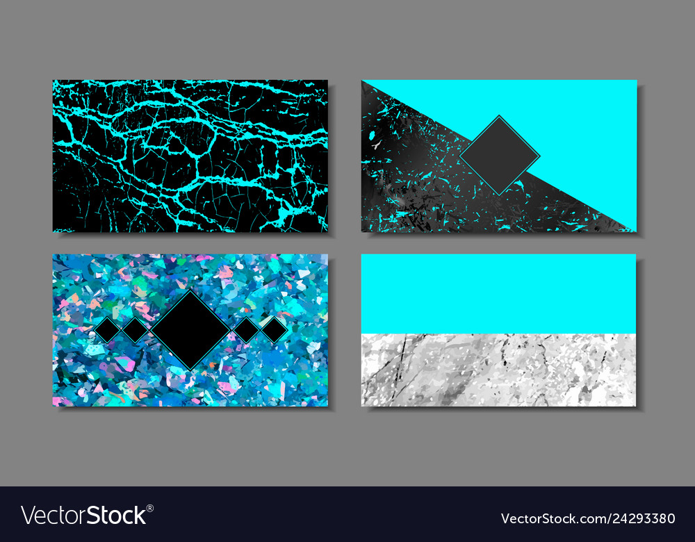 Luxury business blue card with marble texture and