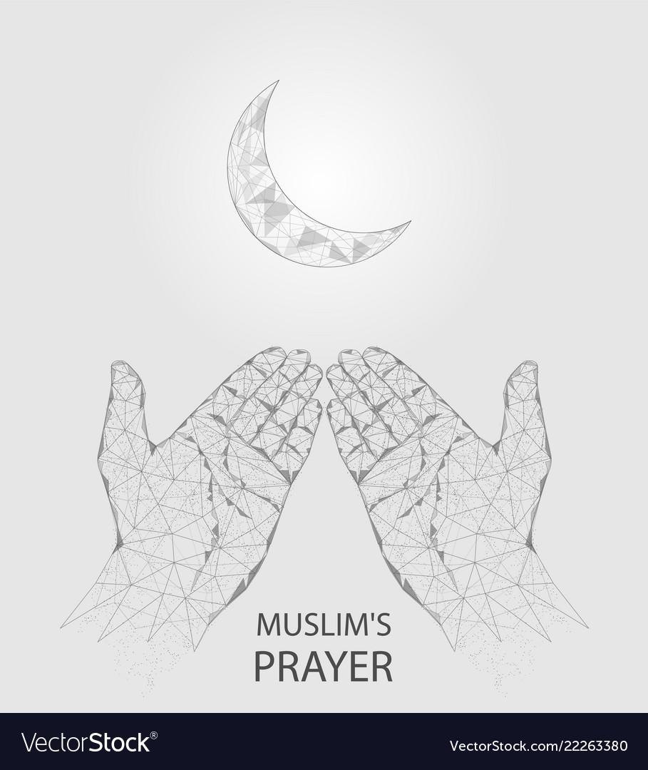 Muslim prayer hands geometric polygonal