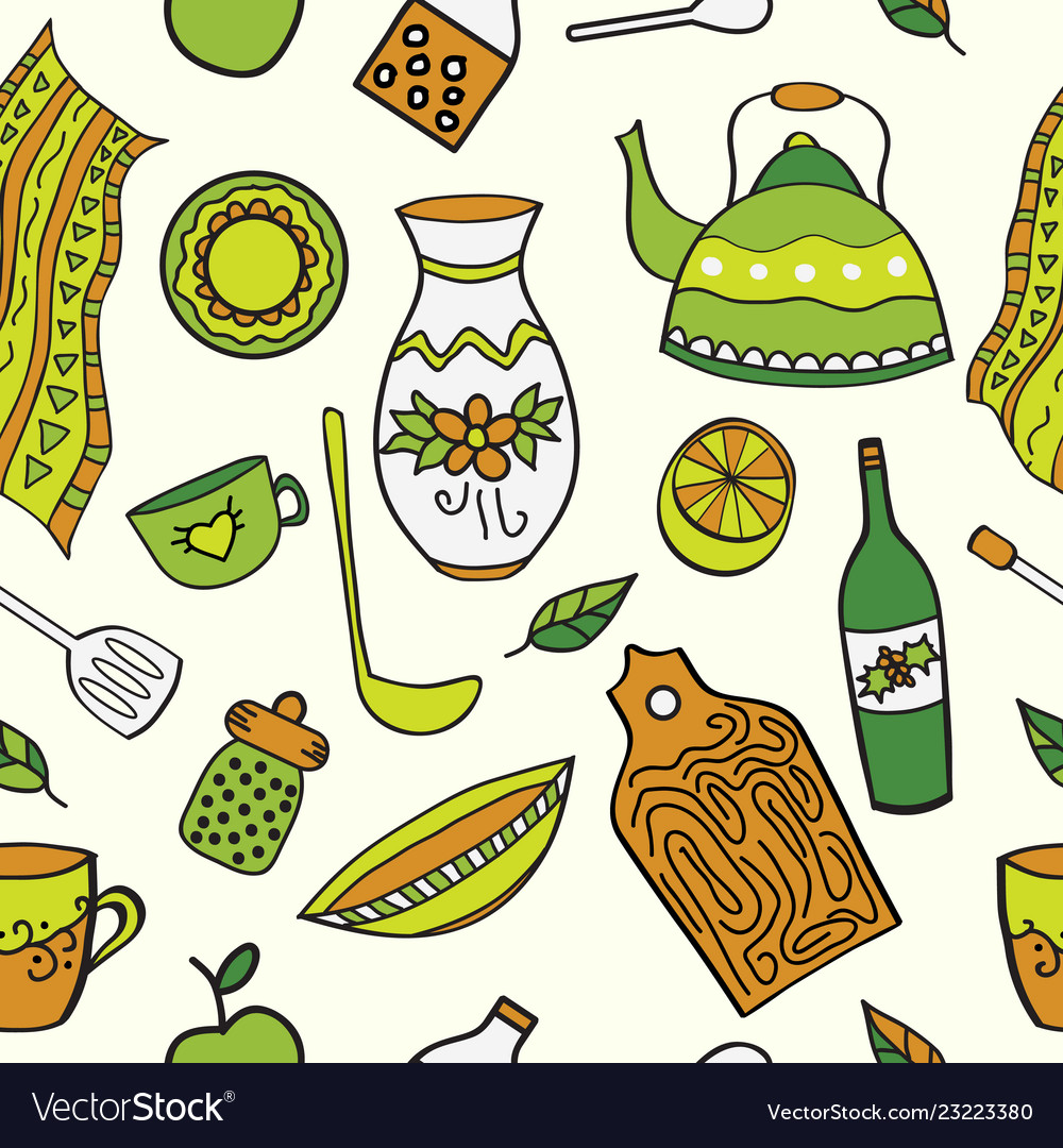 Seamless Background With Drawing Kitchen Element