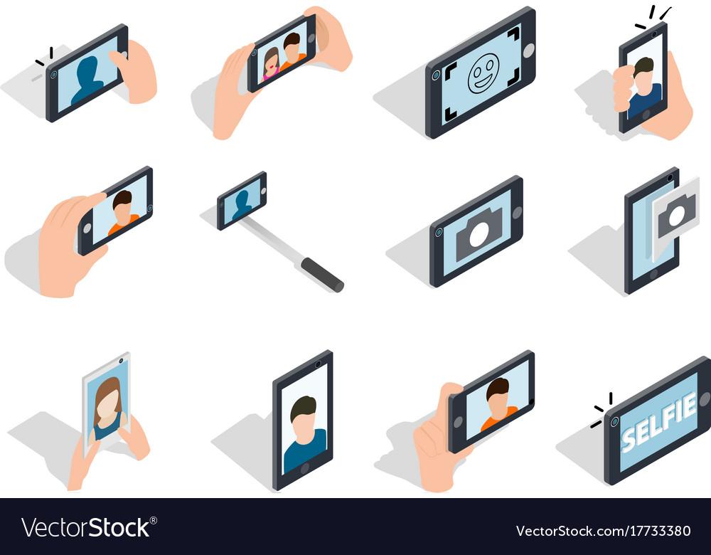 Selfie icon set isometric style