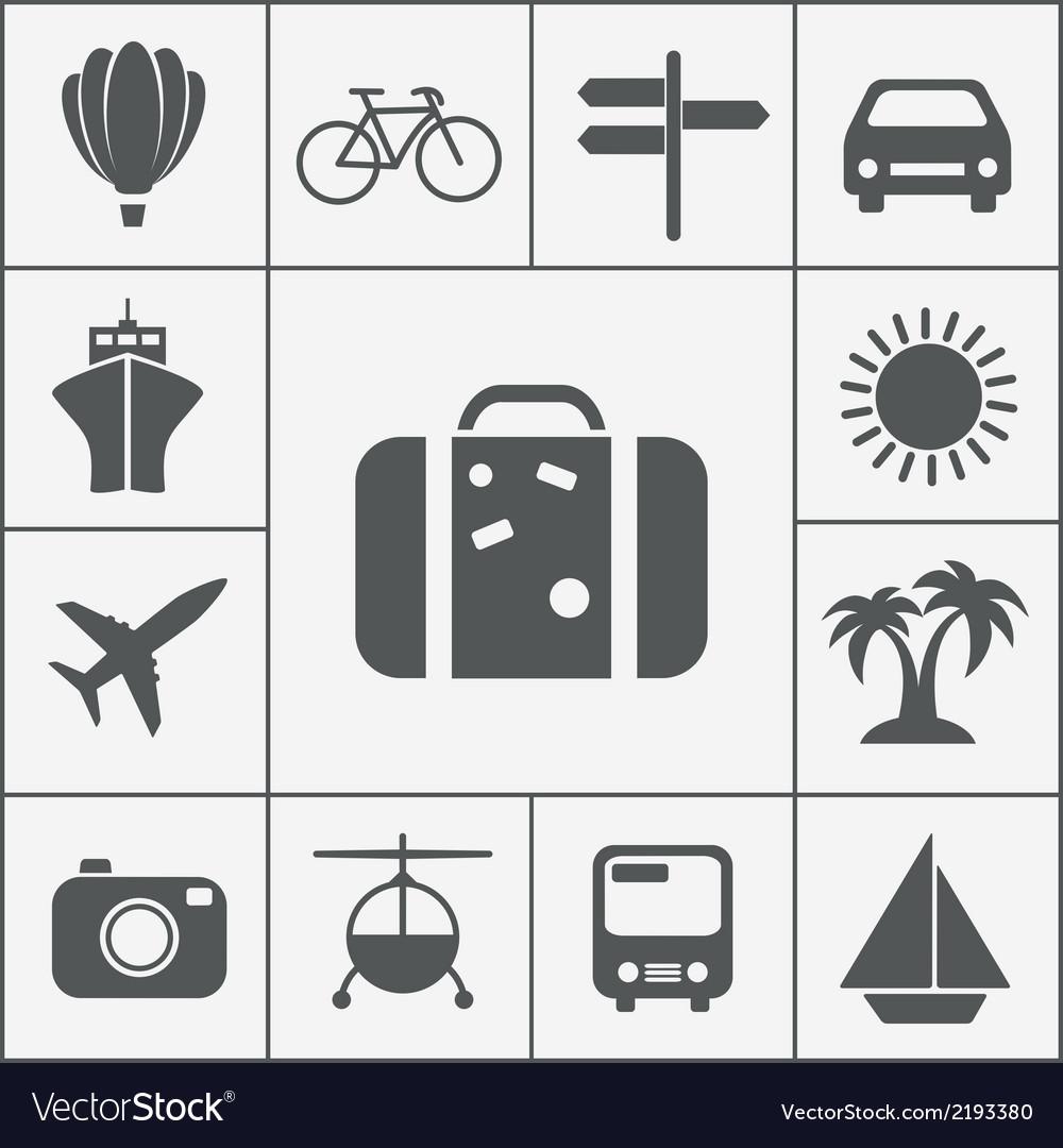 Silhouette travel icon set