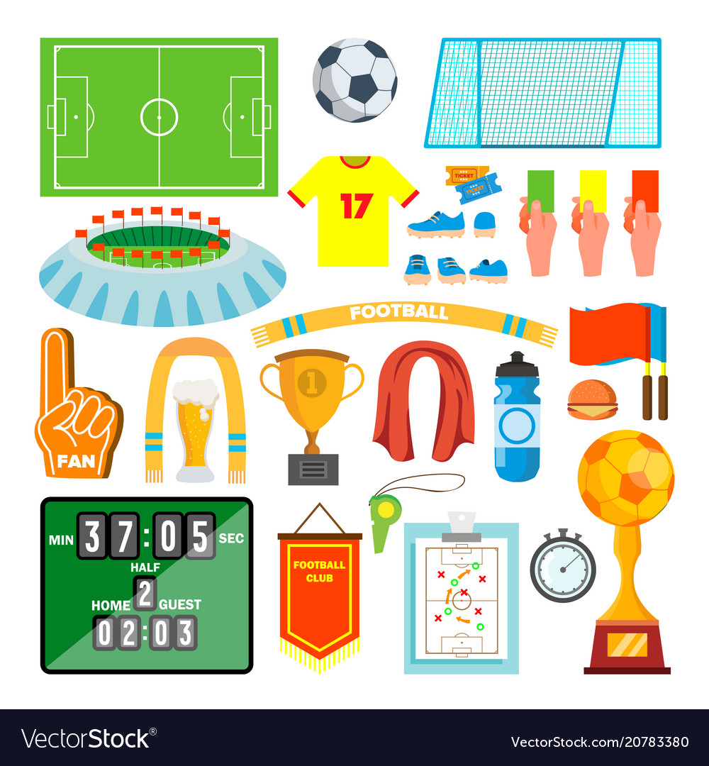 Soccer icons set soccer accessories ball