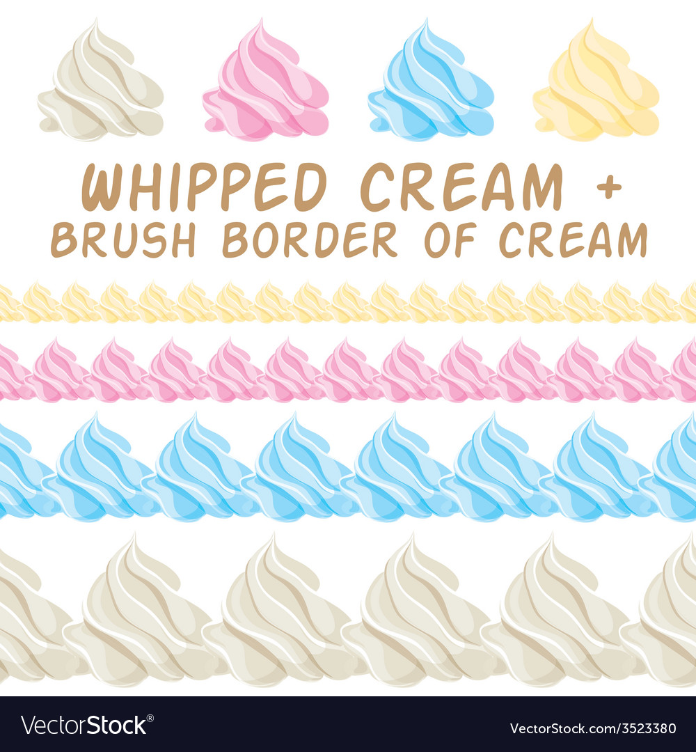 Whipped cream and border colorful brush set
