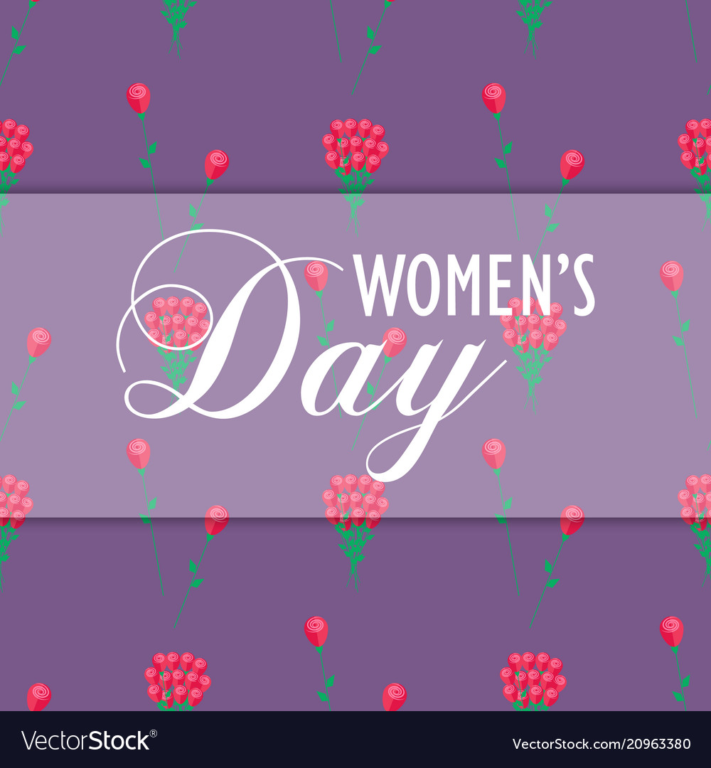 Womens day wrapping paper design with red flowers