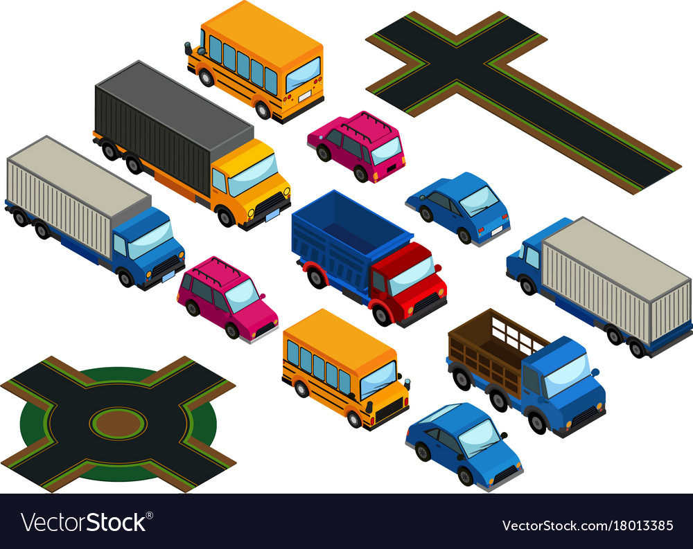3d design for different types of cars and roads