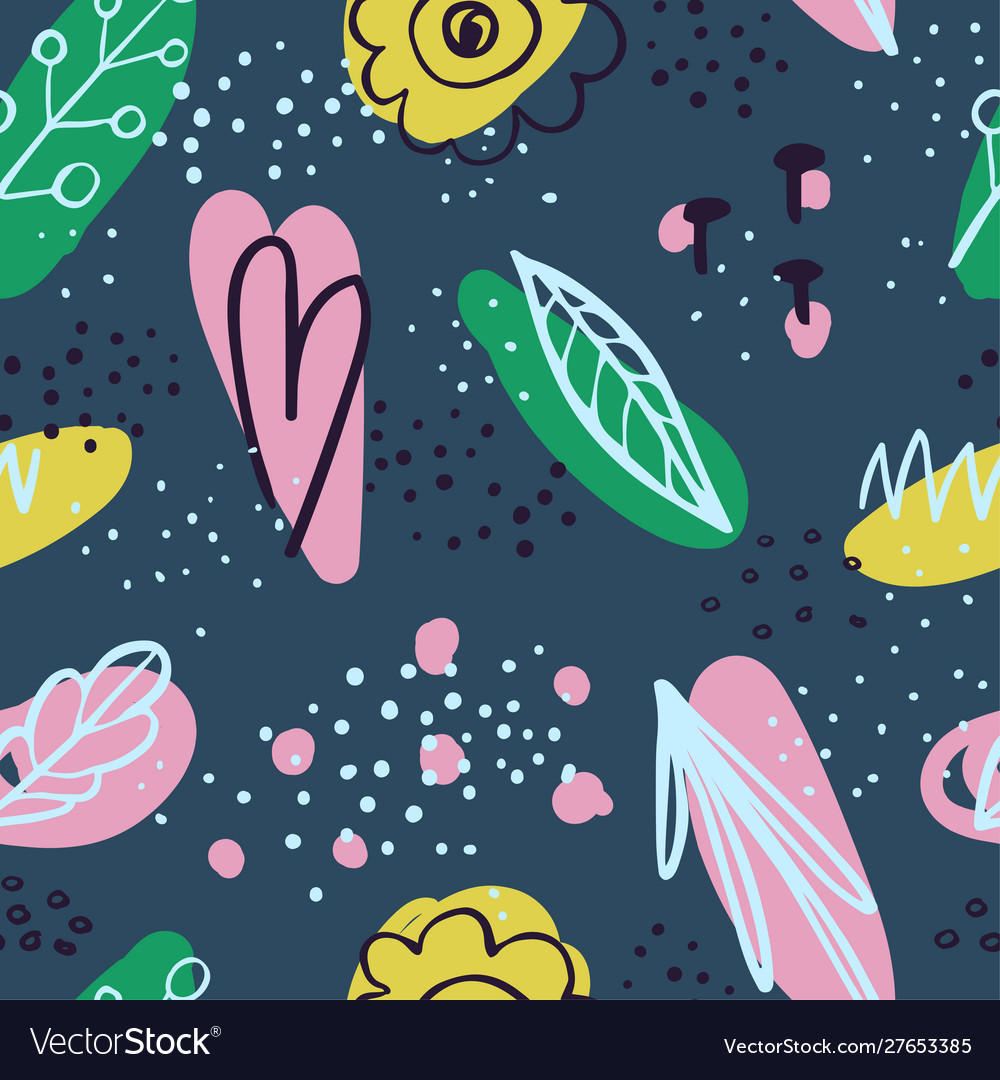 Abstract seamless background with colorful doodles