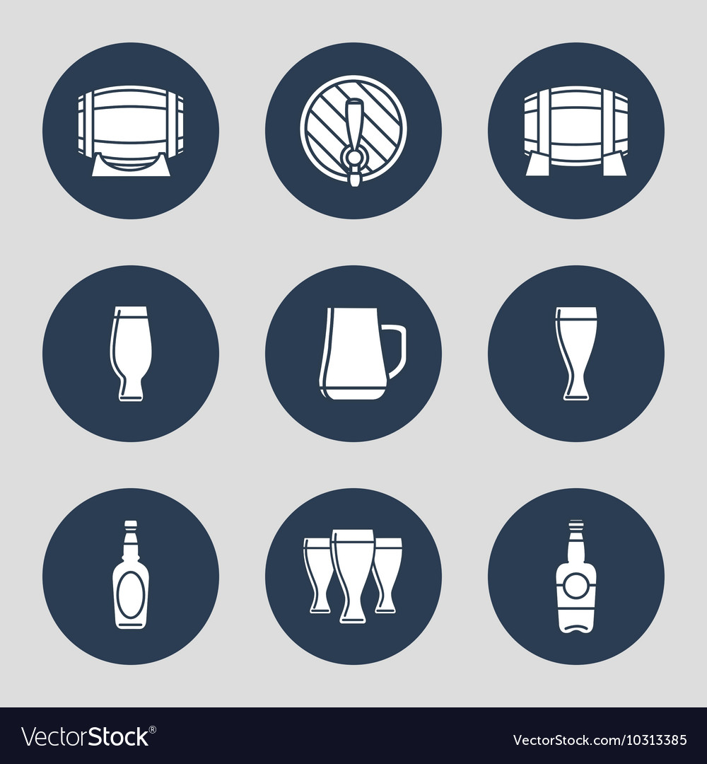 Beer icons set with glasses
