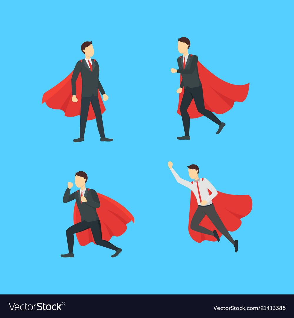 Cartoon businessman superhero characters icon set