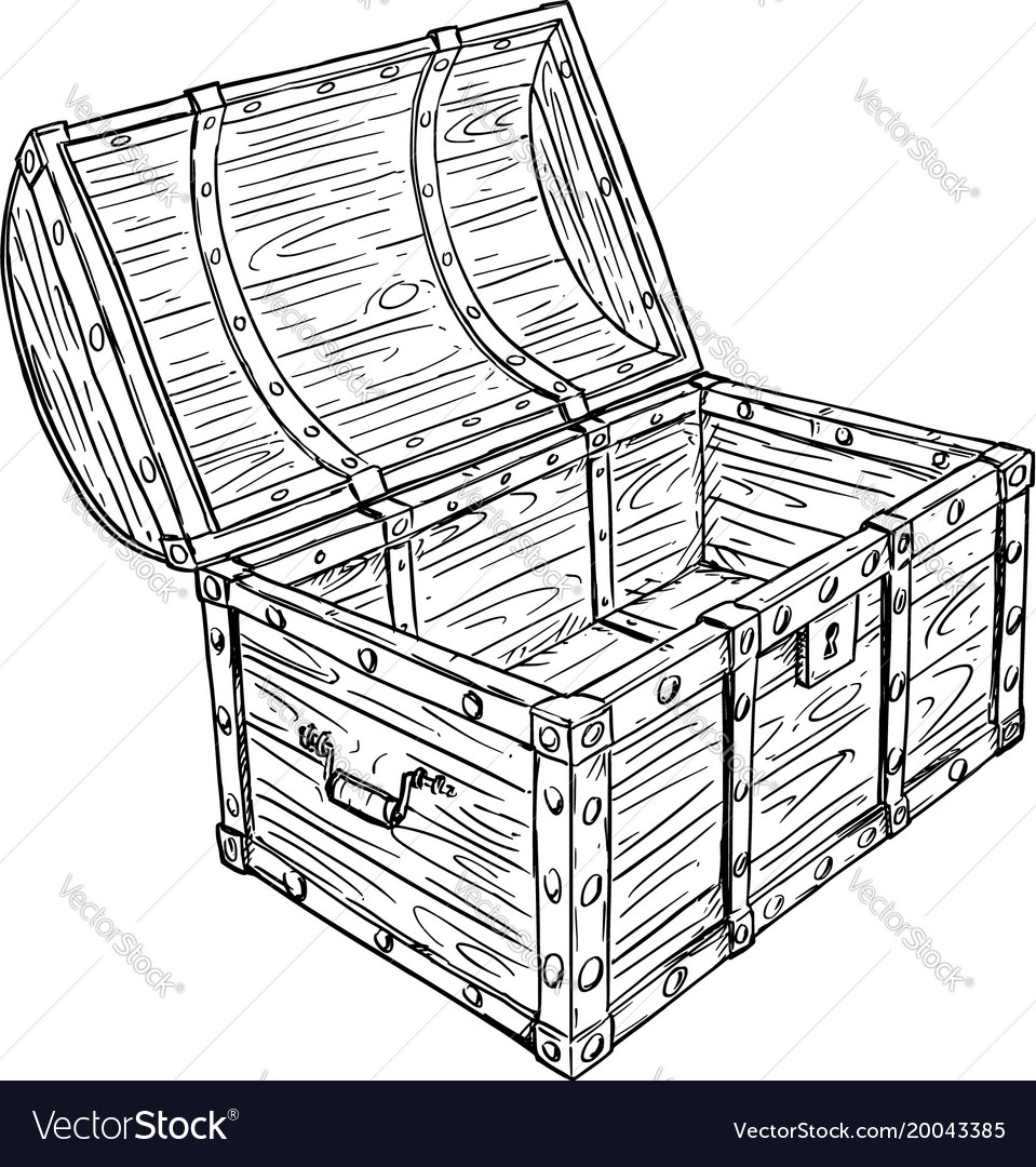 cartoon drawing of old empty open pirate chest vector image