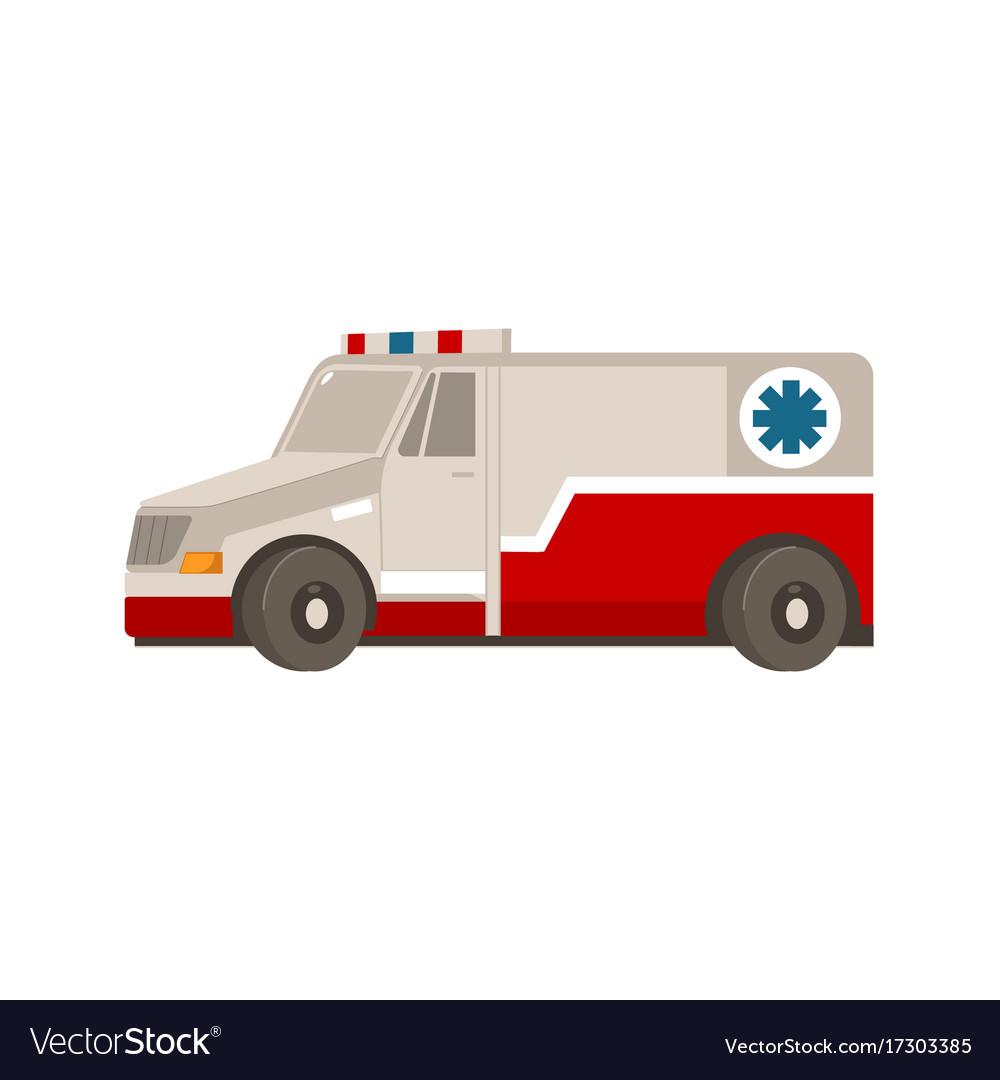 Flat cartoon emergency ambulance car