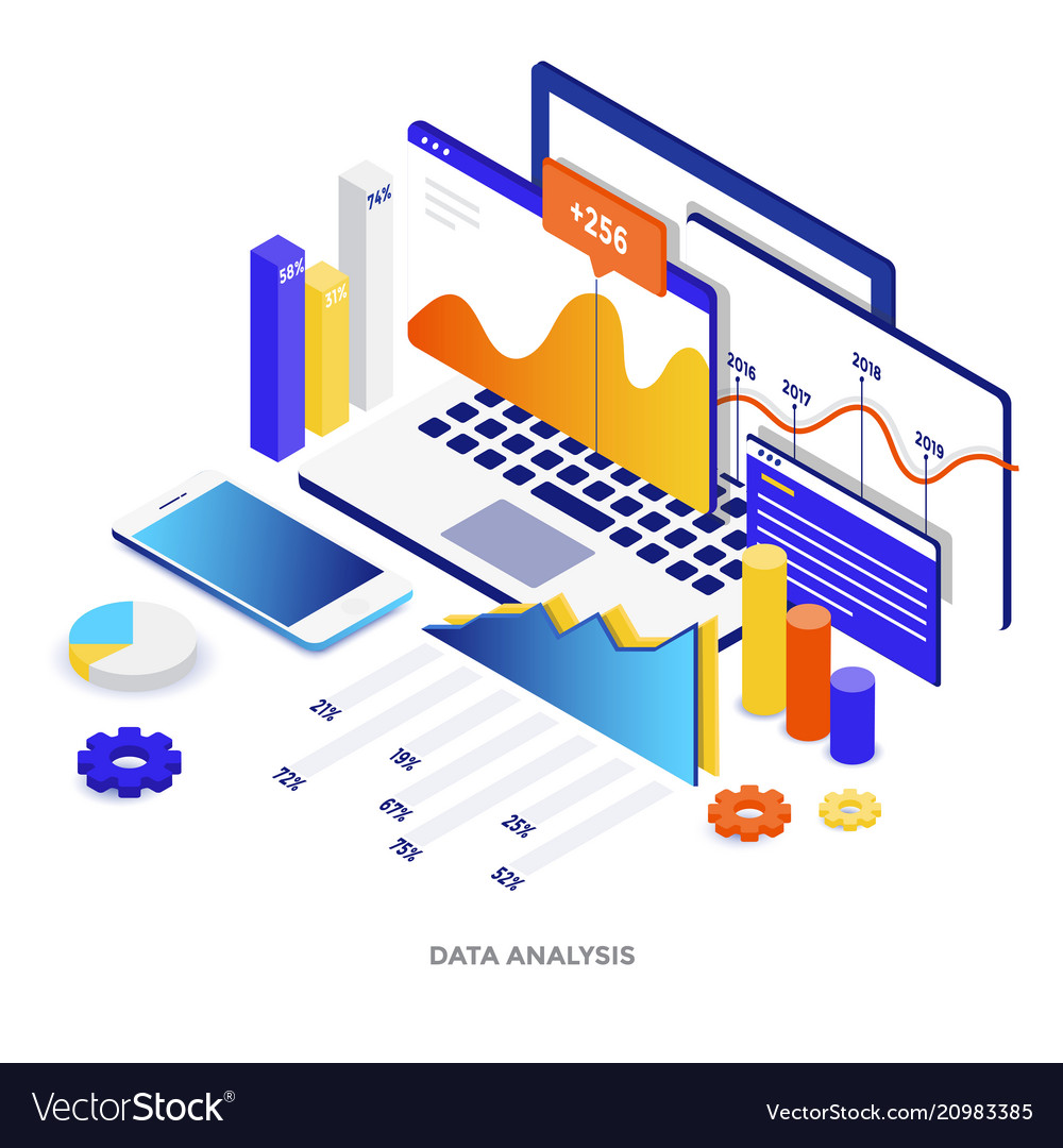 Flat color modern isometric - data analysis vector image