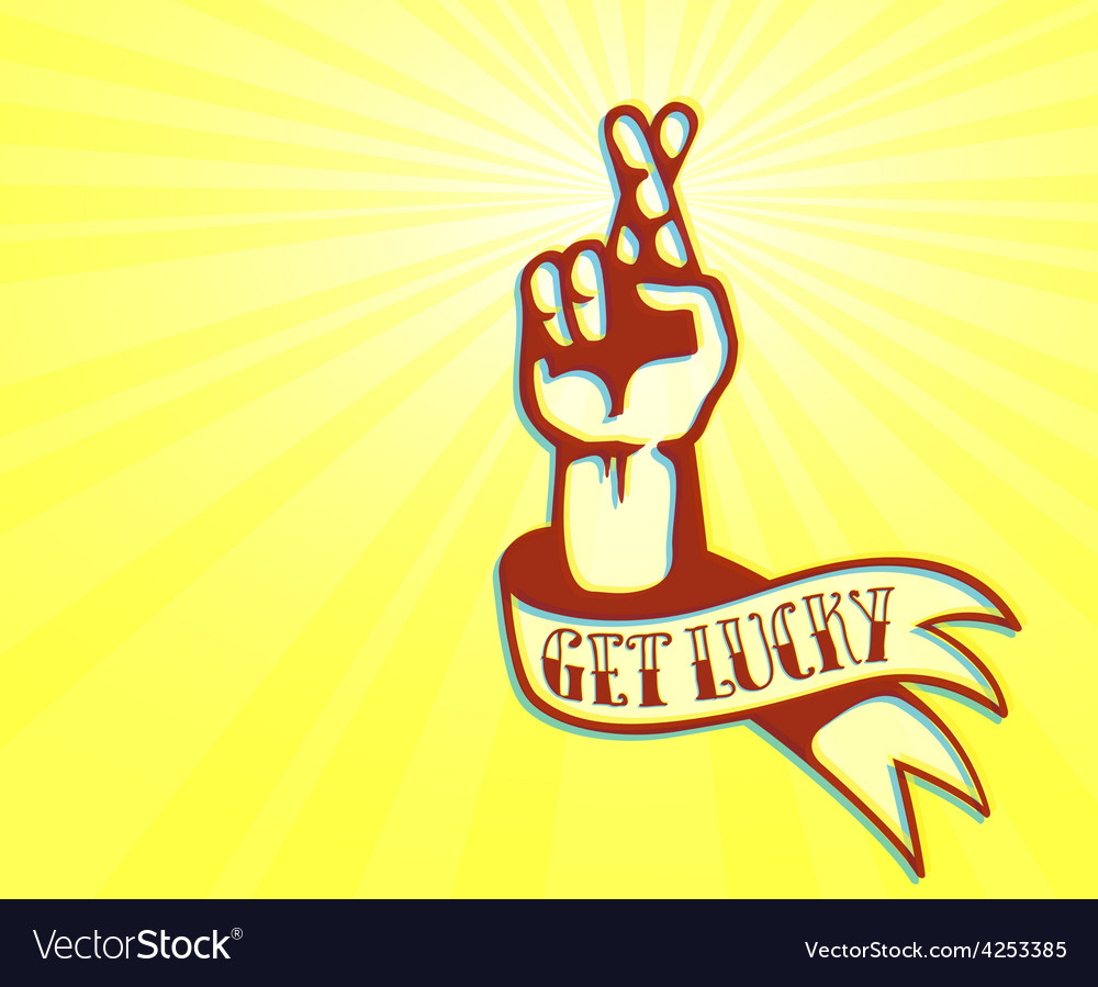 Get lucky tattoo design hand with crossed fingers