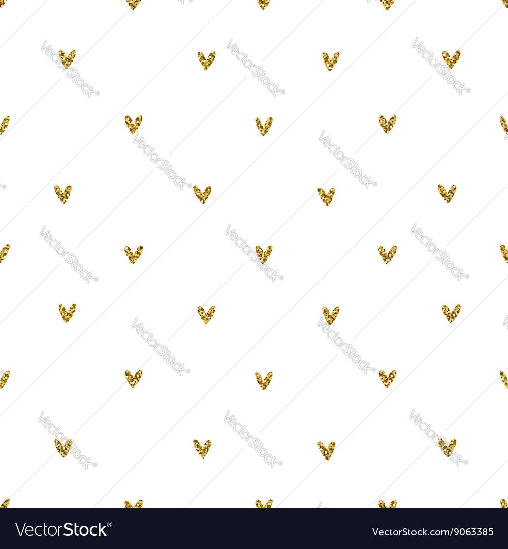 Golden glitter hearts pattern