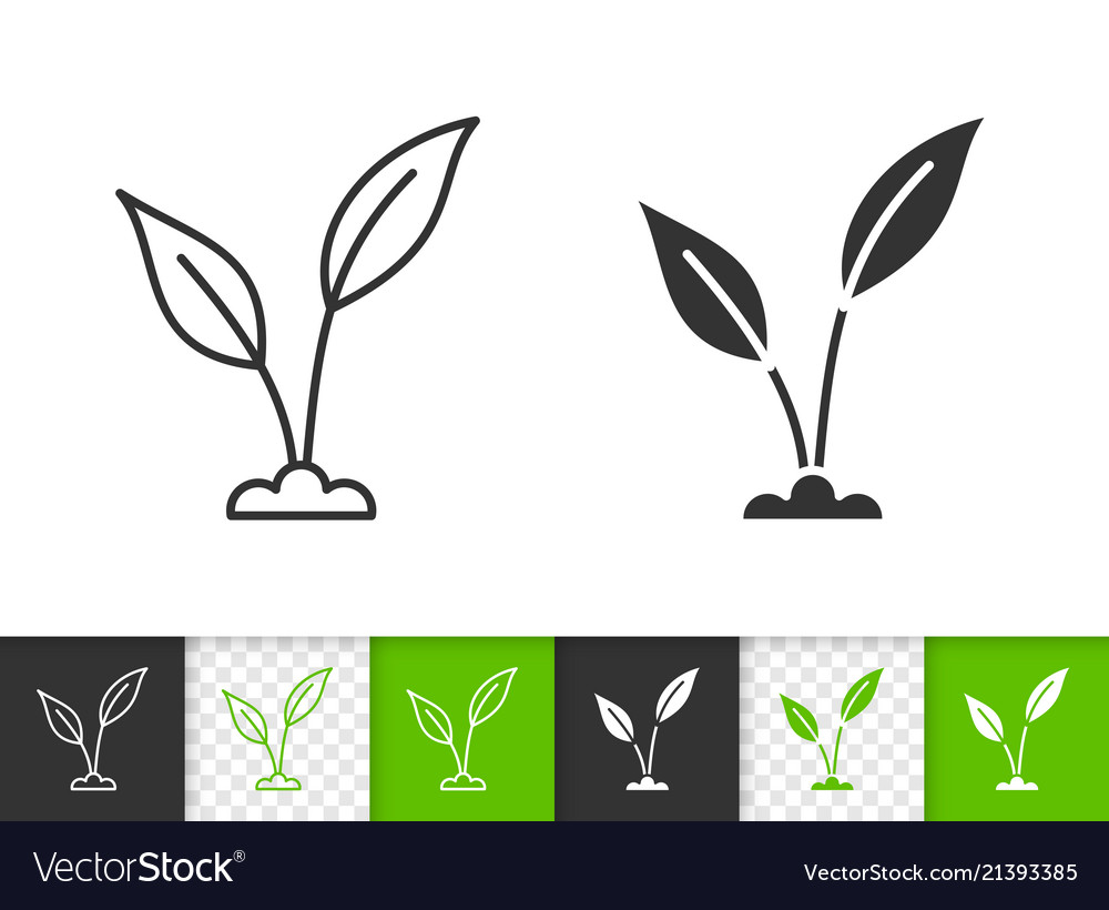 Green leaves simple black line icon