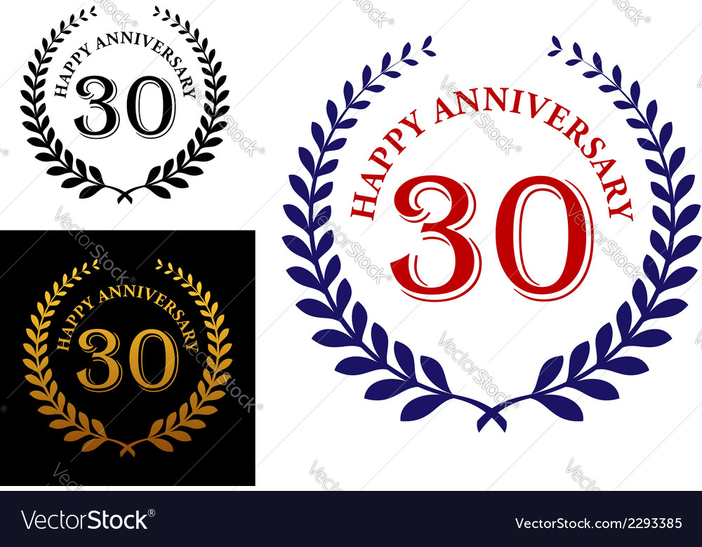 Happy 30th Anniversary Emblem Royalty Free Vector Image