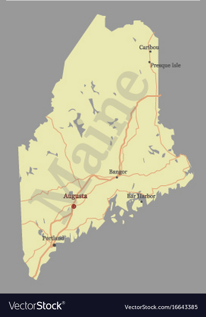 Maine detailed exact detailed state map with