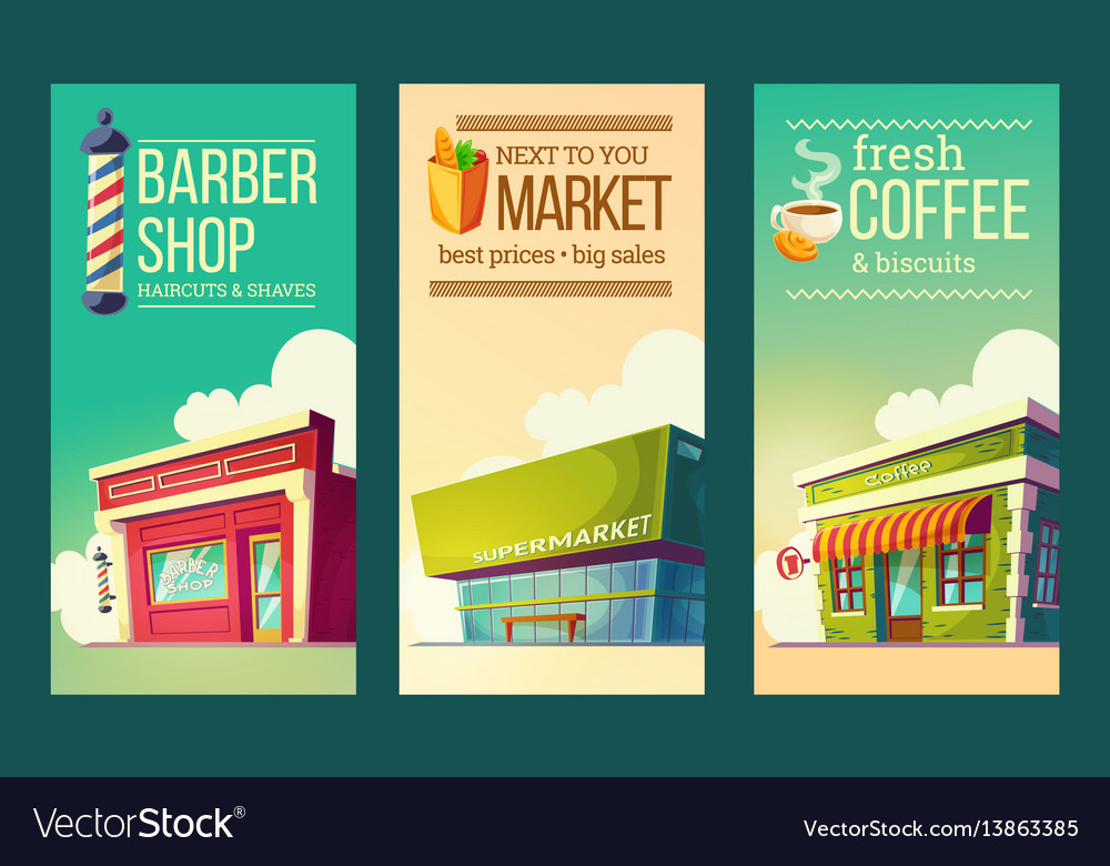 Set vertical banners in retro style with