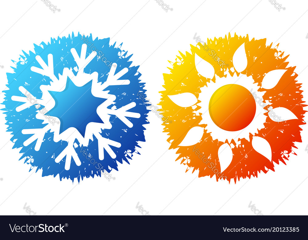 Snowflake And Sun Symbol For Air Conditioning Vector Image