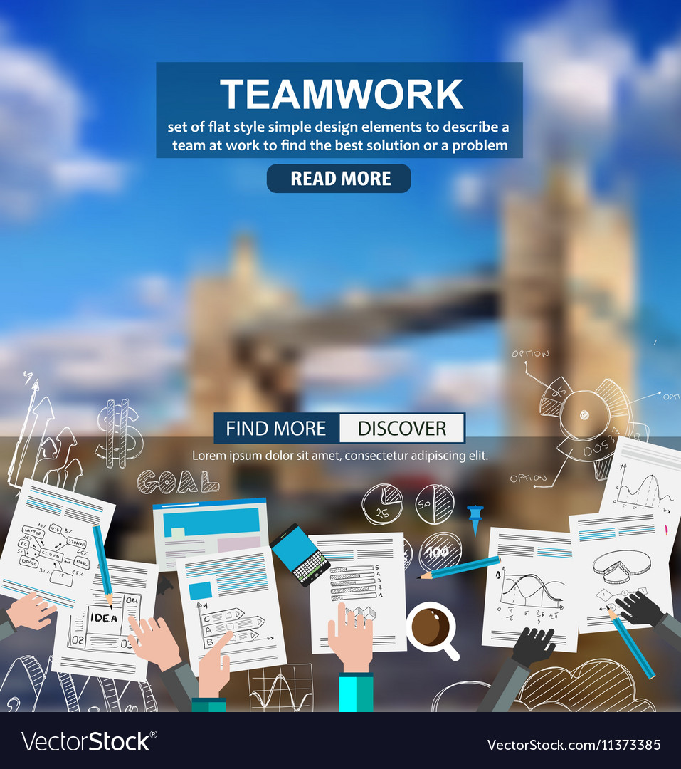 Teamwork Business concept with doodles Sketch